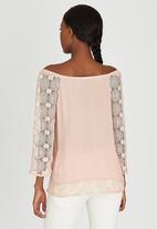 Slick - Freda Lace Sleeve Boho Blouse Pale Pink