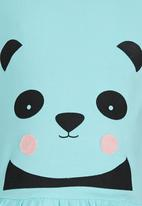 See-Saw - Animal Face Print Peplum Vest Blue