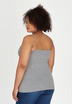 edit Plus - Criss Cross Detail Cami Grey Melange