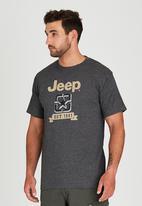 JEEP - Short Sleeve Printed Applique T-Shirt Dark Grey