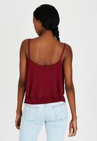 STYLE REPUBLIC - Double Frill Top Dark Red