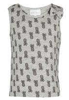 See-Saw - Printed Vest with Bow Grey