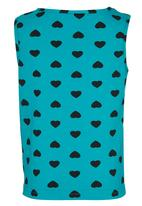 See-Saw - Printed Vest with Bow Turquoise