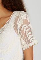 G Couture - Sheer Mesh Embroidered Top Off White