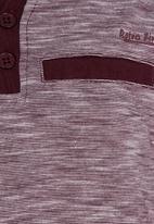 Retro Fire - Striped Henley Tee Mid Purple