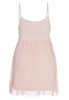 Rebel Republic - Mesh Overlay Dress Pale Pink
