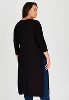 edit Plus - Longer Length Hi Slit Tunic Black