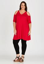 edit Plus - Cold Shoulder Tunic Red