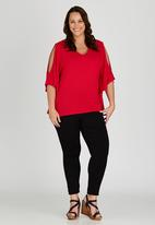 edit Plus - Waterfall Cold Shoulder Top Red