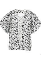 See-Saw - Printed Kimono Top Black and White