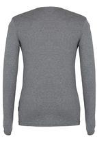 SOVIET - V Neck Long Sleeve Tee Mid Grey