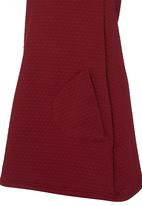 See-Saw - Short Sleeve Textured Dress Dark Red