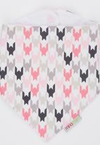 Mina Moo - Pink & Grey Houndstooth Bib Multi-colour