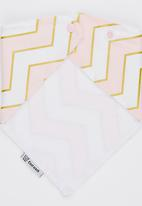 Mina Moo - Blush Pink Chevron Bib Multi-colour