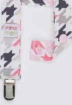 Mina Moo - Pink & Grey Houndstooth Dummy Clip Multi-colour