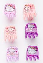Character Fashion - 6 Pack Hello Kitty  Jaw Clips Multi-colour