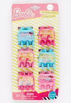 Character Fashion - 6 Pack Barbie  Jaw Clips Multi-colour