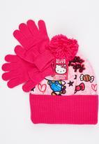Character Fashion - Hello Ktty  2pc Premium Beanie & Gloves Set Pale Pink