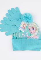 Character Fashion - Frozen 2pc Premium Beanie & Gloves Set Pale Blue