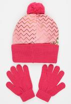 Character Fashion - Barbie  2pc Premium Beanie & Gloves Set Pale Pink