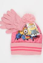 Character Fashion - Minions 2pc Premium Beanie & Gloves Set Pale Pink
