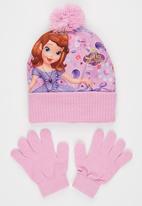 Character Fashion - Sofia 2pc Premium Beanie & Gloves Set Pale Pink
