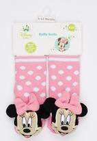 Character Baby - Minnie Mouse Rattle fun socks Pale Pink