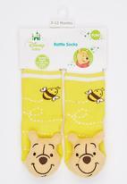 Character Baby - Winnie The Pooh Rattle fun socks Yellow
