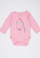 Soobe - Long-sleeve Printed Babygrow Mid Pink