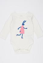 Soobe - Long-sleeve Printed Babygrow White