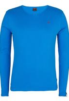 SOVIET - Dust Long Sleeve V-Neck Muscle T-Shirt Blue