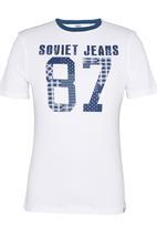 SOVIET - Jasper S/Slv Printed T-Shirt White