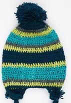 Myang - Beanie With Ties Lime & Teal Stripe Multi-colour