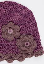 Myang - Beanie With Flowers Dark Purple