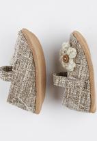 Myang - Mary Jane Tweed With Flower Mid Brown