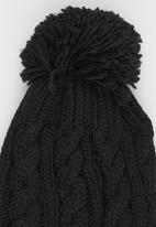 Dazzle - Cable Knit Beanie with Pom-pom Detail Black