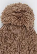 Dazzle - Cable Knit Beanie with Pom-pom Detail Neutral