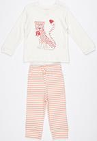 Baby Corner - Cheetah Printed Long Sleeve T-shirt With Stripe Pa Pale Pink