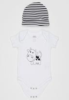 Baby Corner - Cow Printed  5 Piece Set Black and White