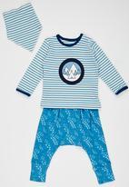 Baby Corner - Striped Paw Patterned  3 Piece Set Mid Blue