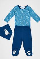 Baby Corner - Paw Patterned  3 Piece Set Mid Blue