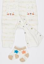 London Hub - Newborn Unisex 2 Piece Sleepsuit Bunny Pockets White