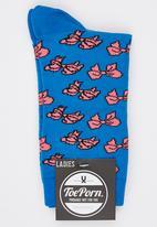 Toe Porn - Rex Bow Socks Mid Blue