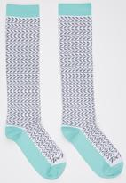Toe Porn - Lucas Leaf Knee Hi Socks Turquoise