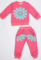 POP CANDY - Flower  Track Top and Pant Mid Pink