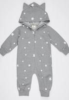 POP CANDY - Stars Bodysuit With Hoody Grey