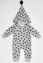 POP CANDY - Stars  Bodysuit With Hoody Grey