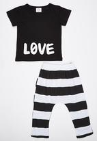 POP CANDY - Love  Pj Set Black and White