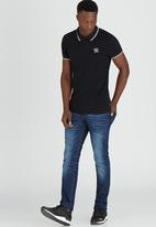 GUESS - S/S Branded Pique Polo Black