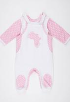 Poogy Bear - Dungaree Set Mid Pink